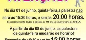ATENÇÃO – Mudança de horário – Reunião Pública de Quinta-feira