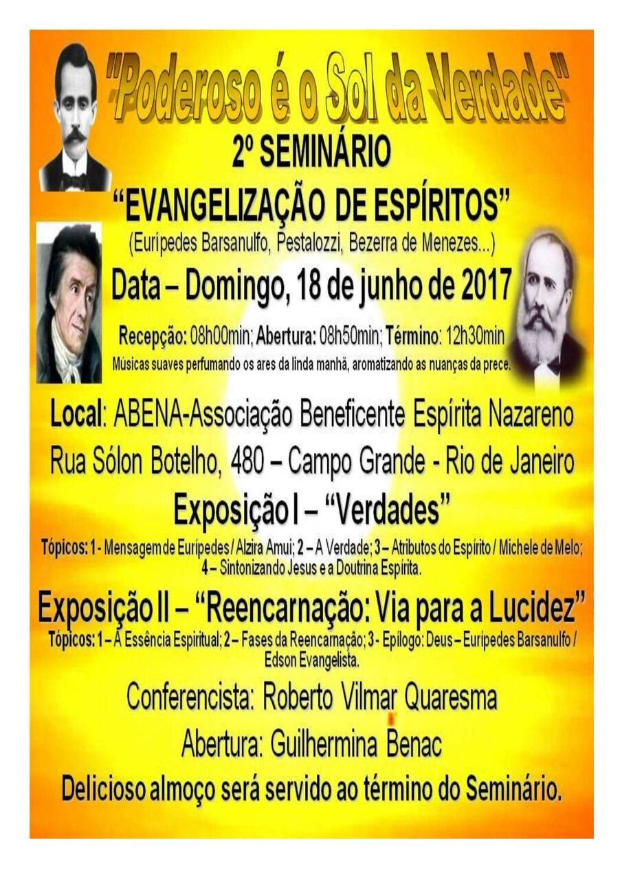 """2º Seminário """"Evangelização de Espíritos"""""""