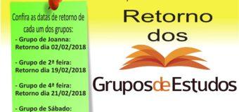 Retorno do Grupos de Estudo – 2018