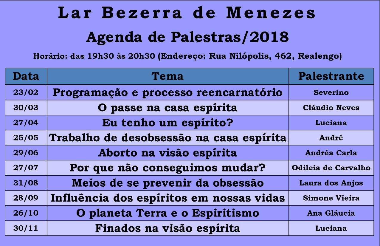 Agenda de Palestras/2018 – lar Bezerra de Menezes