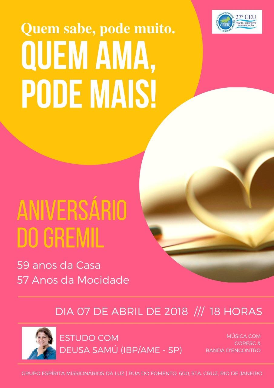Aniversário do Gremil – 07/04.