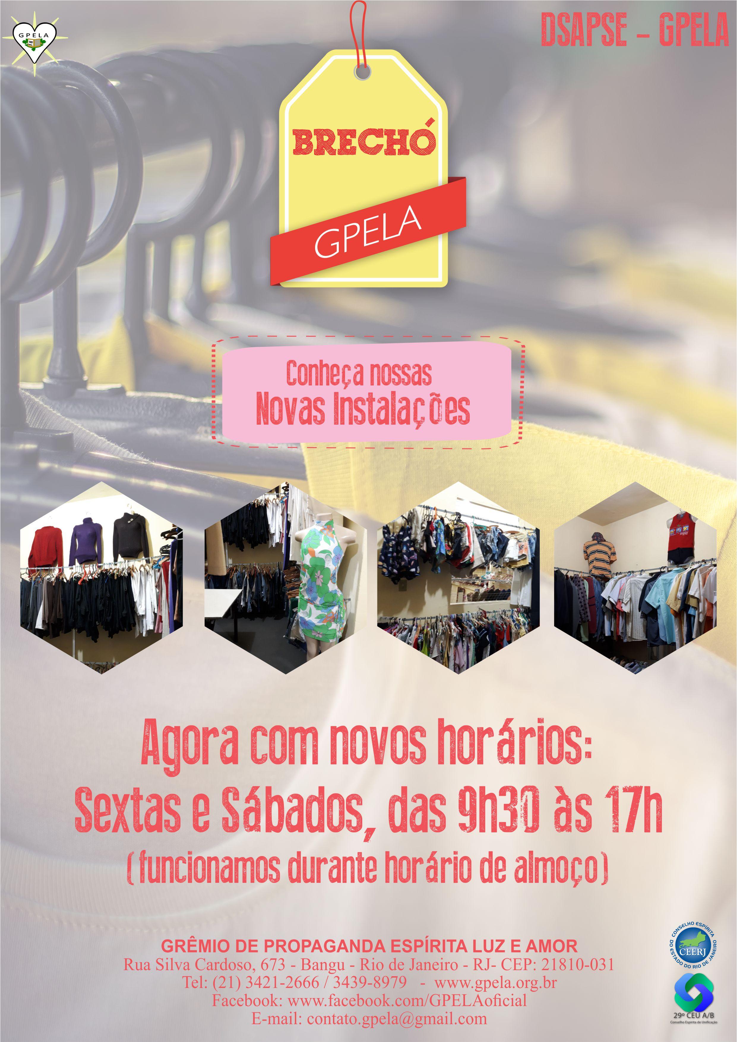 Brechó Gpela – Todas sexta e sábados, das 9:30h às 17h.