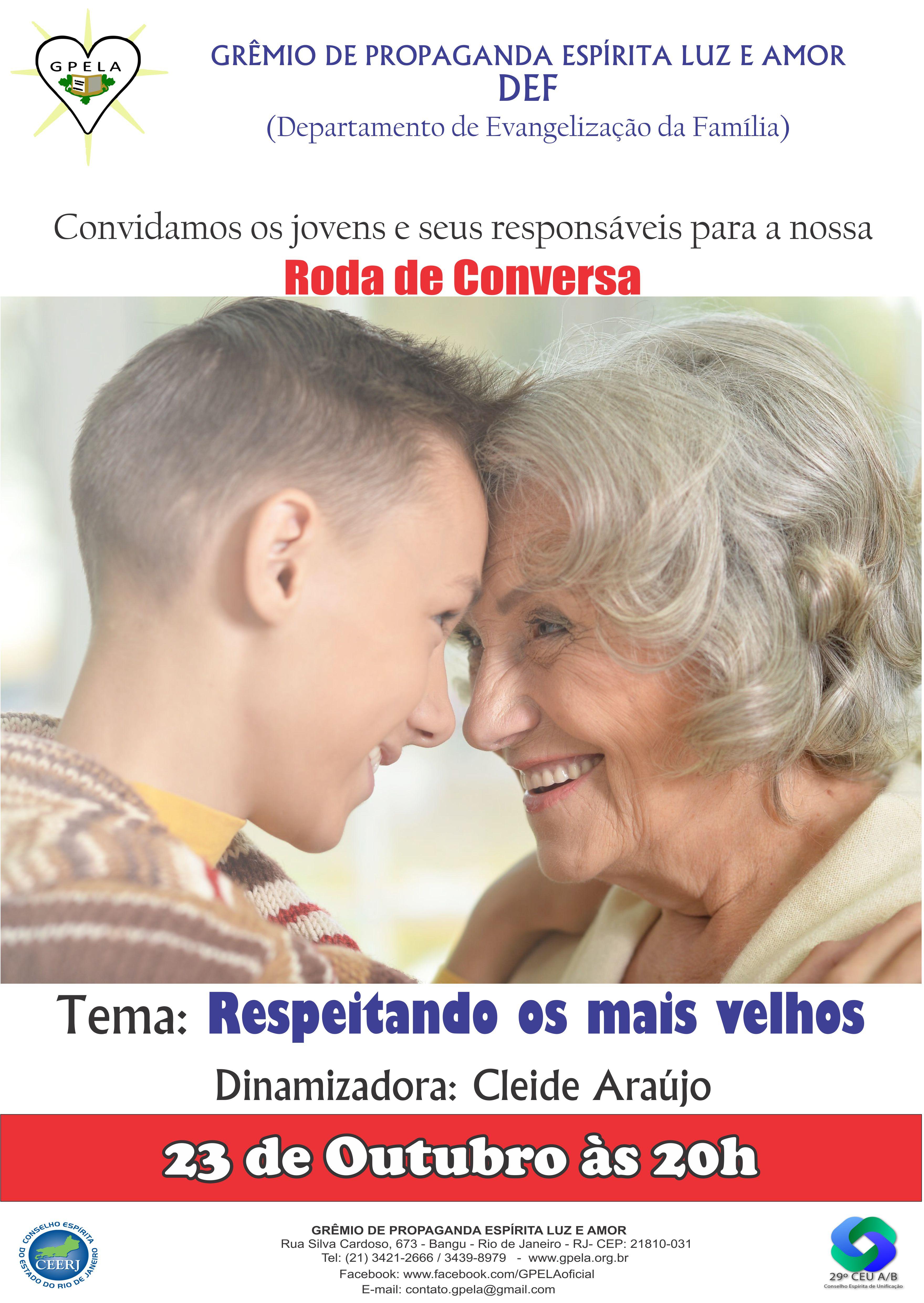 23/10 – Roda de Conversa – Tema: Respeitando os mais velhos.