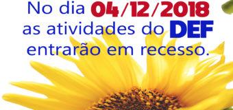 14/12 – Recesso das atividades do DEF.