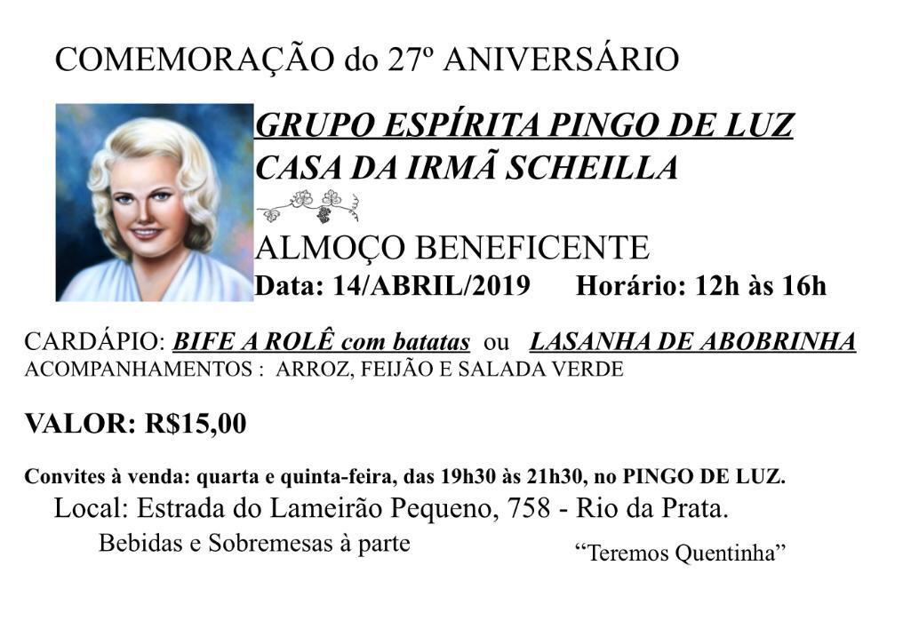 14/04 – Comemoração do 27º aniversário Grupo Espírita Pingo de Luz