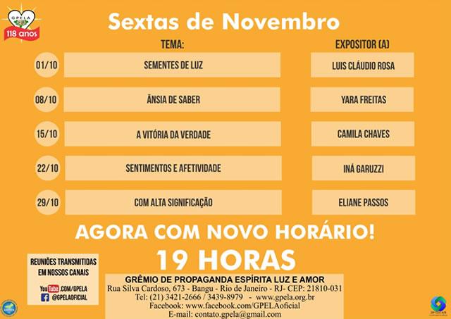 Reuniões de Sextas Feiras no Mês de Novembro